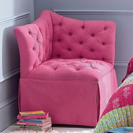 comfortable chairs for teens | pink tufted corner chair in