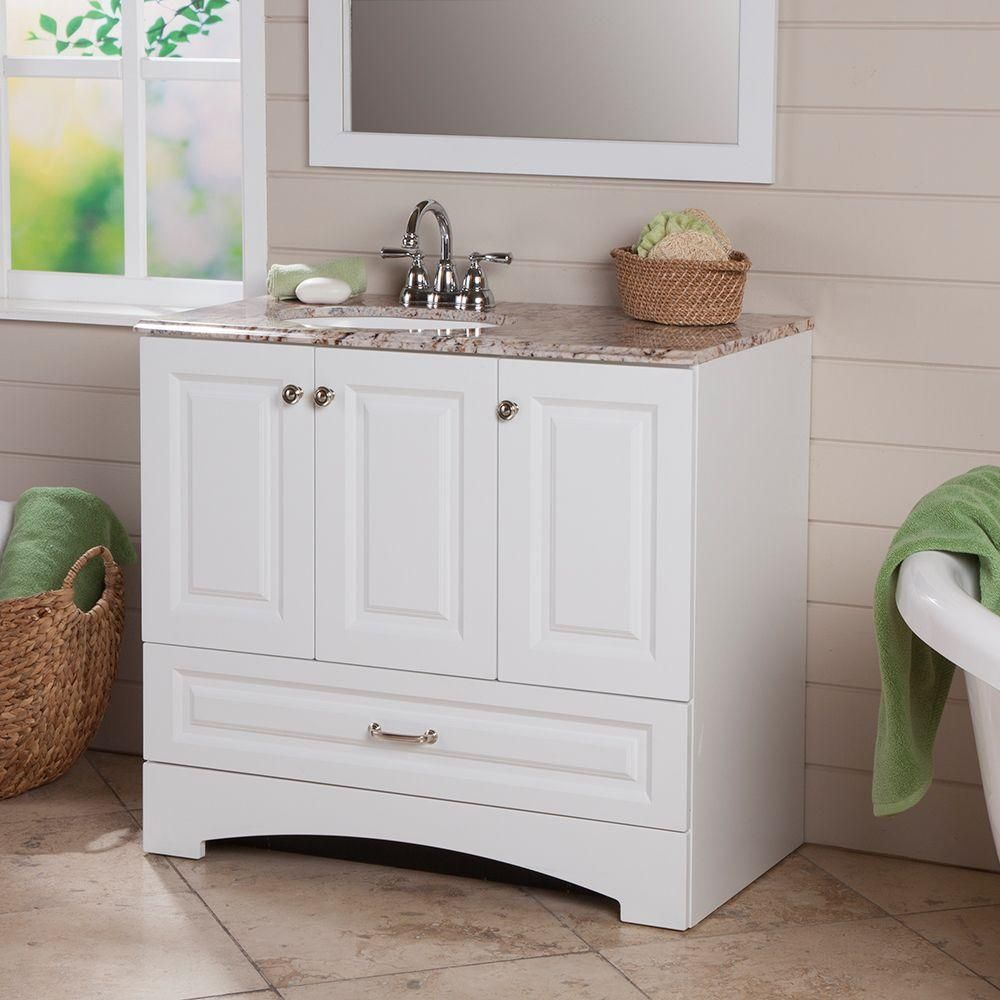 glacier bay stafford 36 in. vanity in white with stone effects
