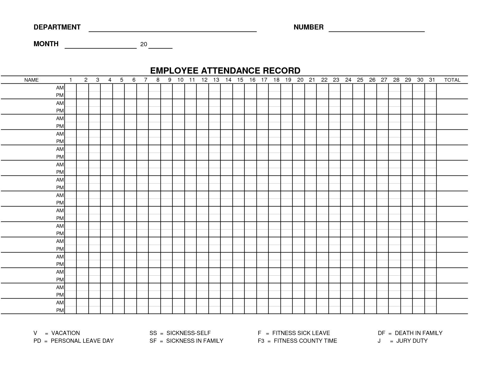 Free Work Attendance Sheet Template Form 15