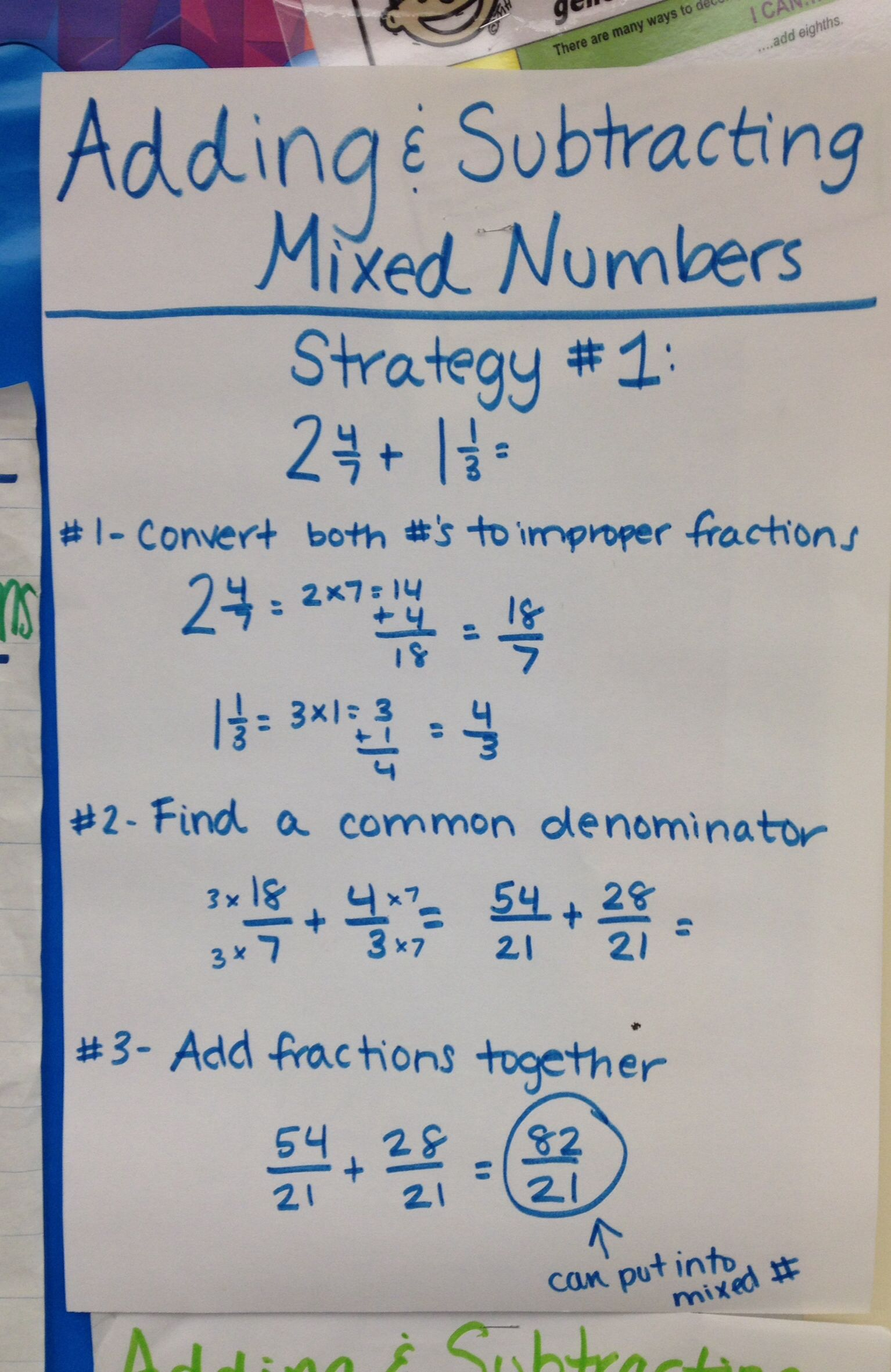 Adding And Subtracting Mixed Numbers