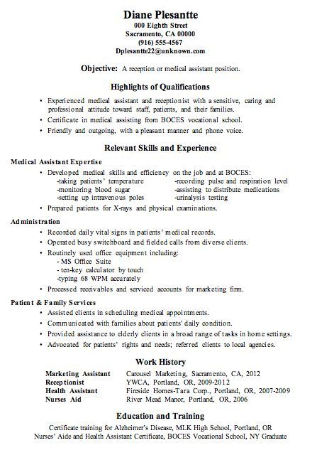 Secretary Resume Objective Medical Istant Example S  Secretary Resume Objective