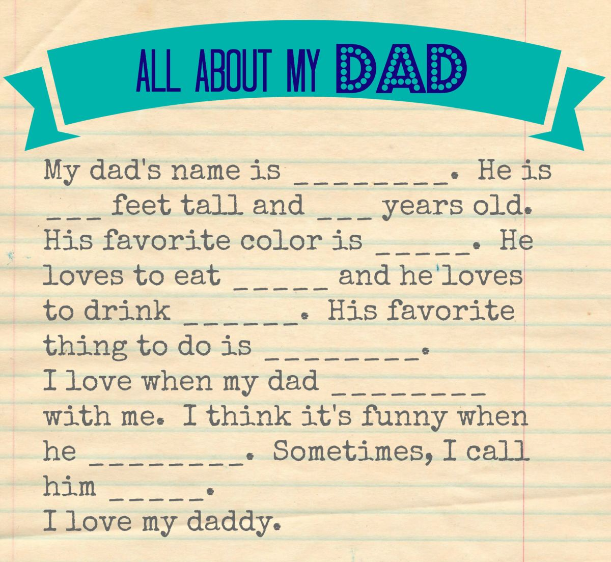All About Dad Father S Day Questionnaire