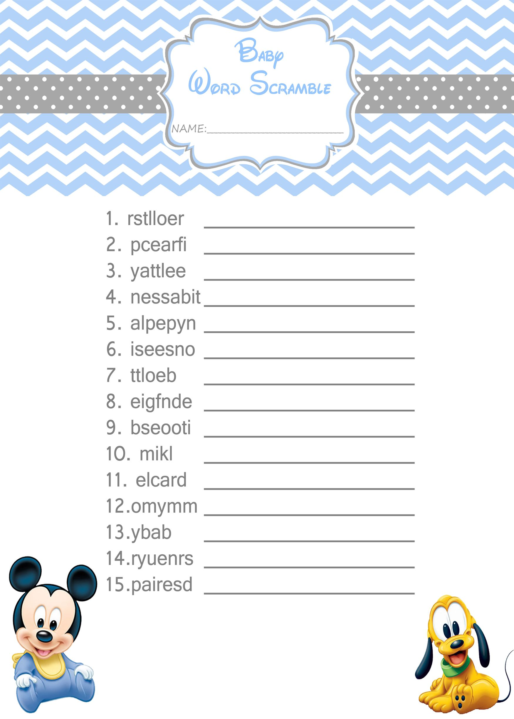 Baby Mickey Mouse Baby Shower Games