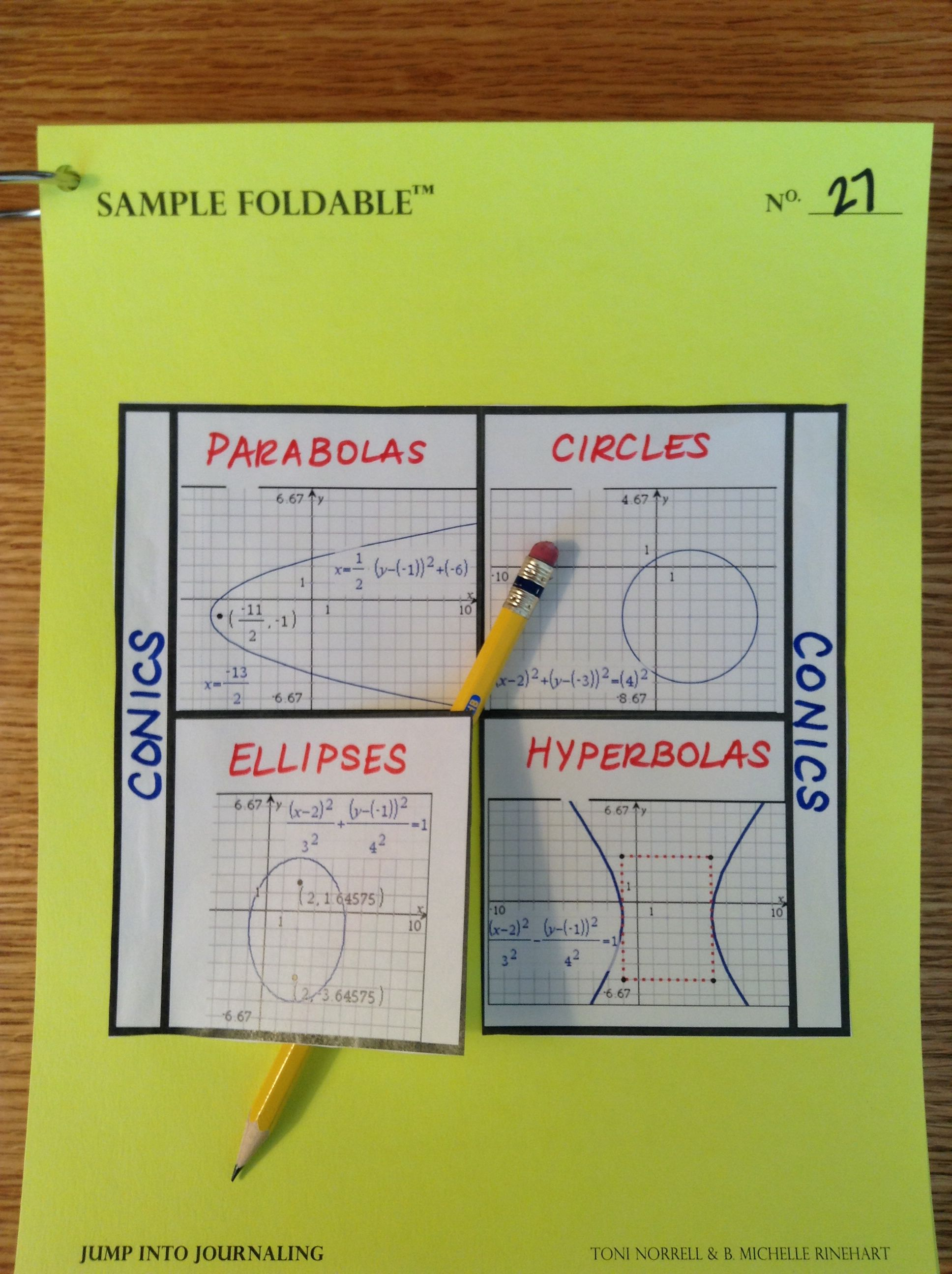 Conics Foldable Parabolas Circles Ellipses Hyperbolas Using Ti Nspire Screenshots