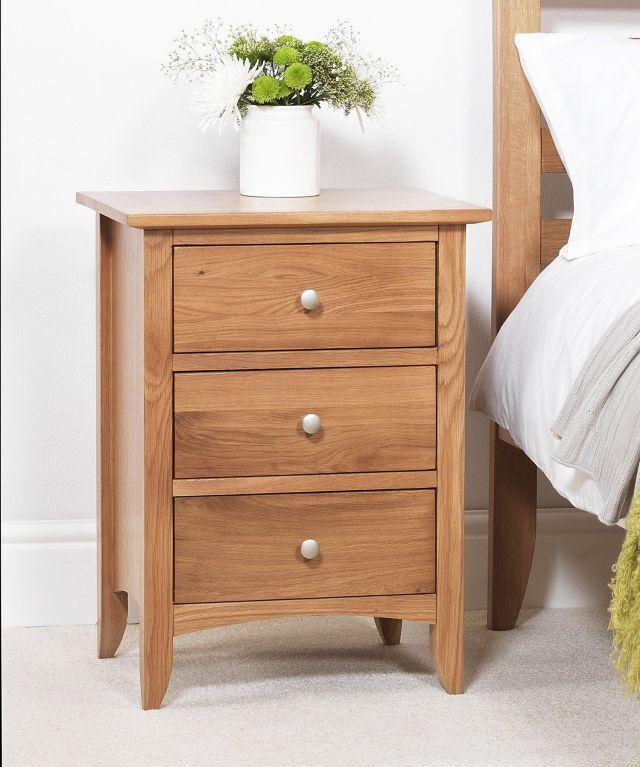 Edward Hopper oak bedside table 3 drawer ASSEMBLED bedside