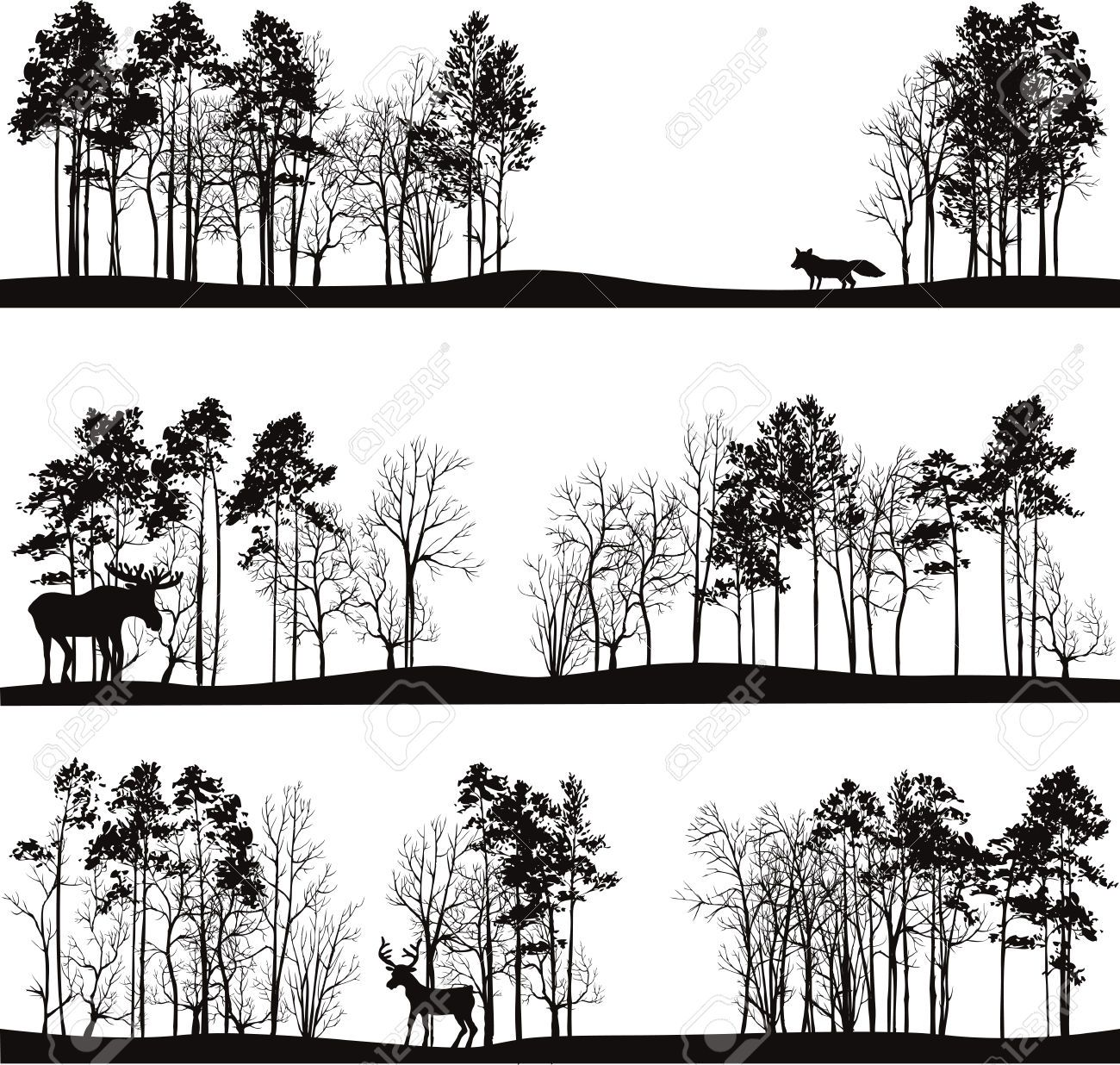 Set Of Different Landscapes With Pine Trees And Wild