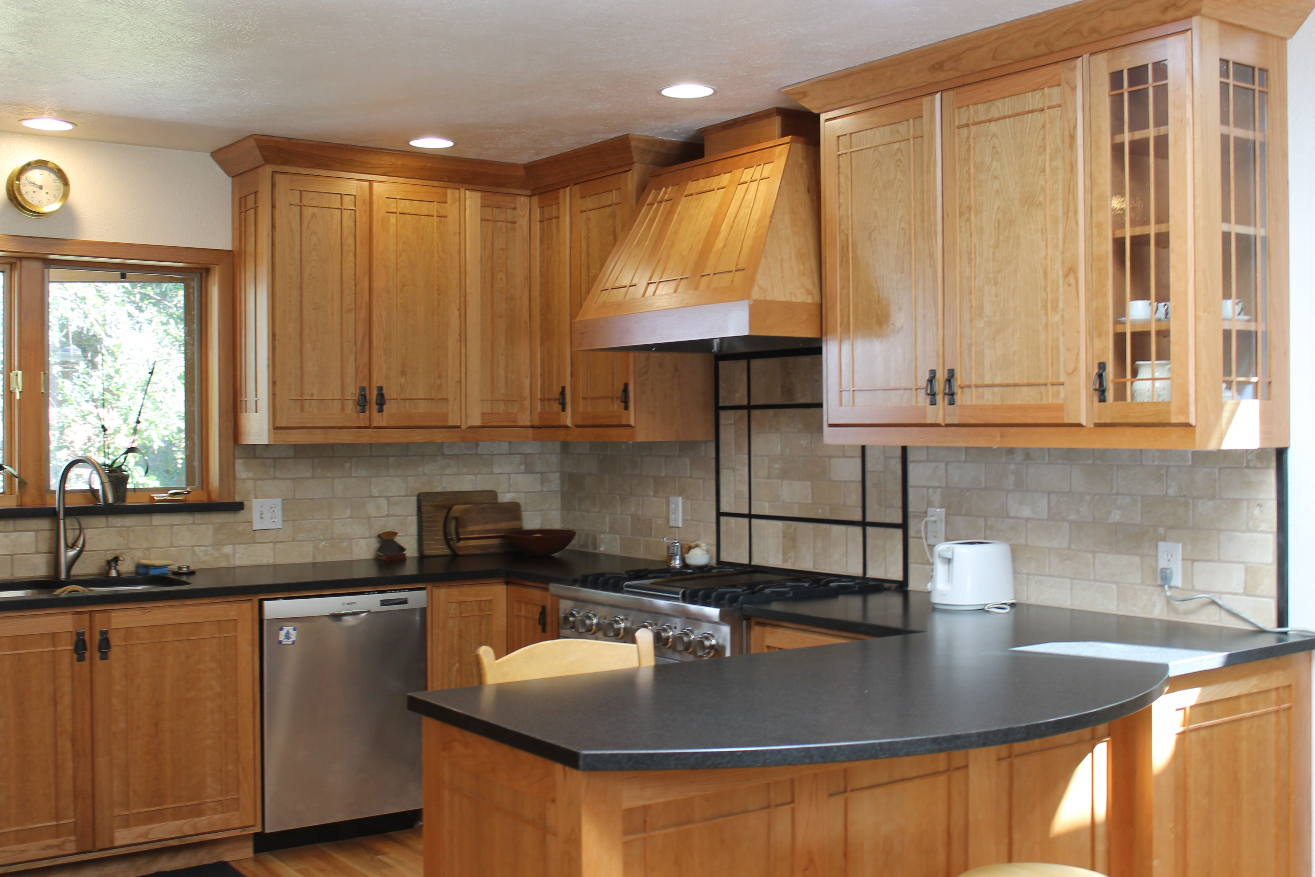 kitchen-contemporary-maple-cabinets-in-black-with-white ... on Gray Countertops With Maple Cabinets  id=50489