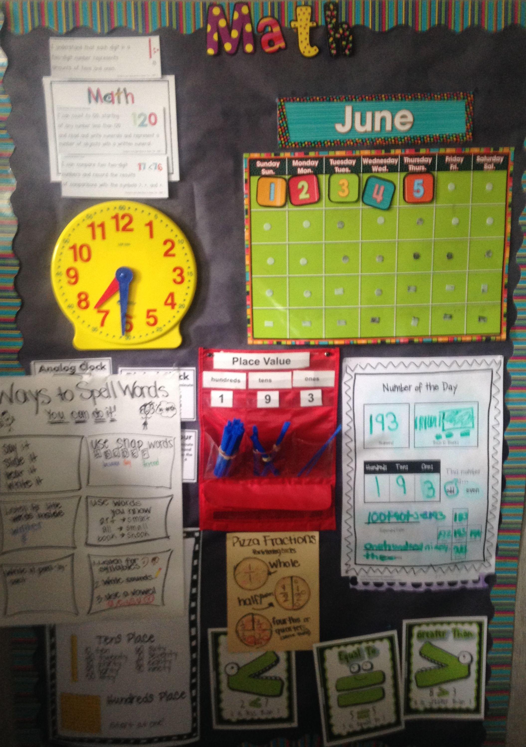 First Grade Math Focus Wall With Calendar Clock Anchor