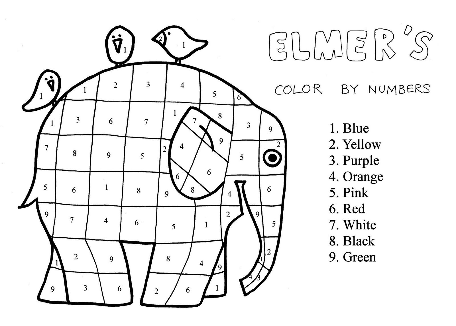2nd Grade Elmer The Patchwork Elephant Coloring Page