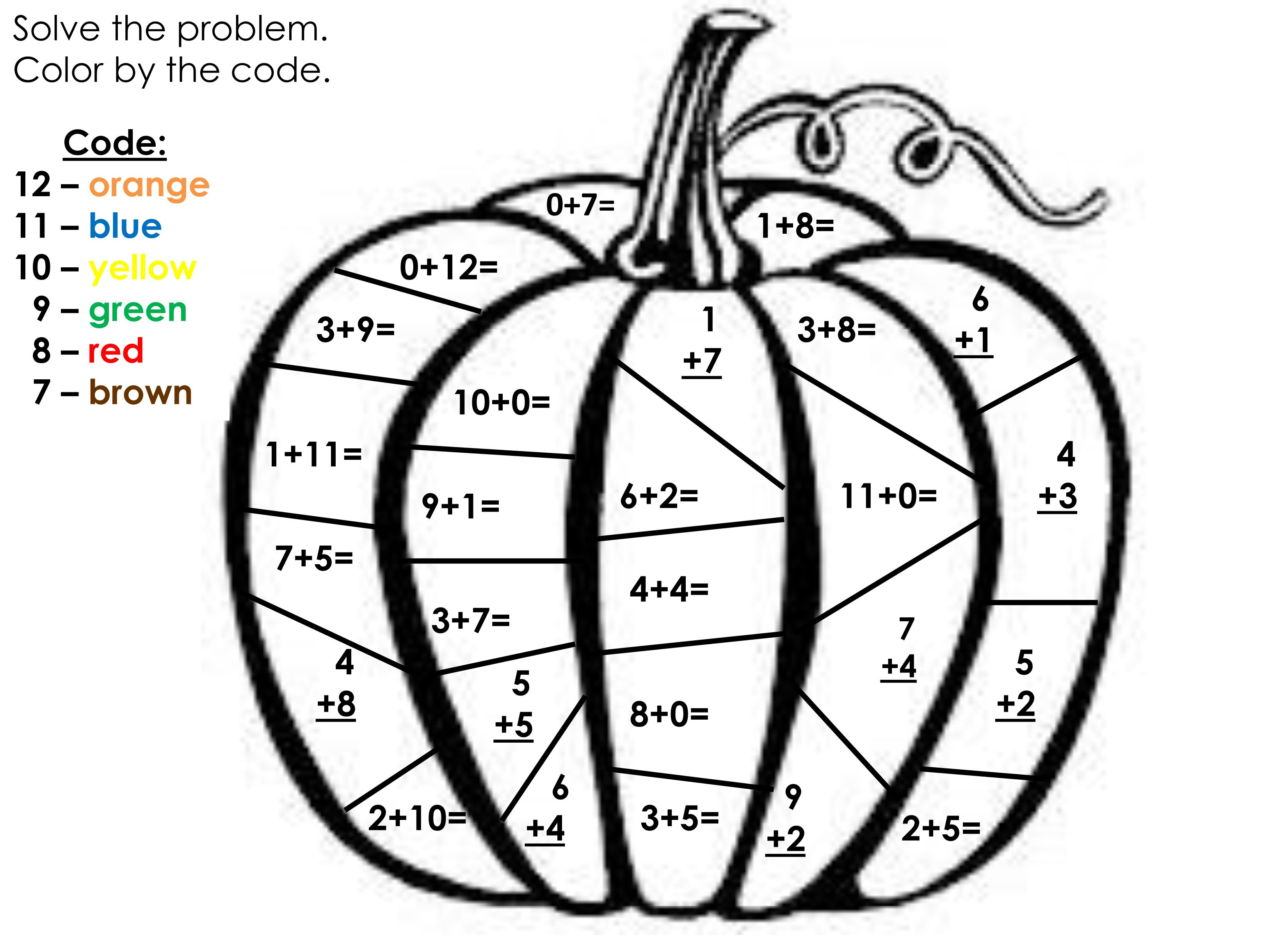 Fall Math Color By Number Addition Worksheets Sketch
