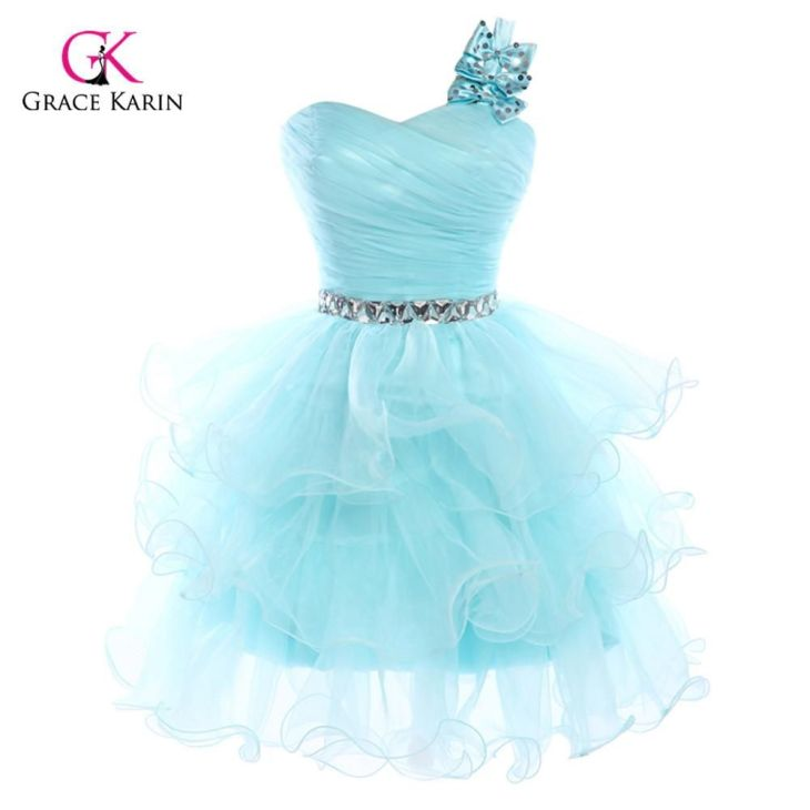 Womens Sexy Short Puffy Prom Dresses Oneshoulder Crystal Homecoming
