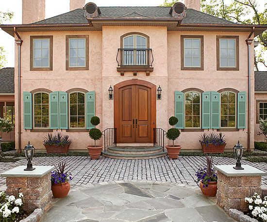 Beautiful Worldly Influenced Front Doors Door Paint Colors Curb Appeal And Green Shutters