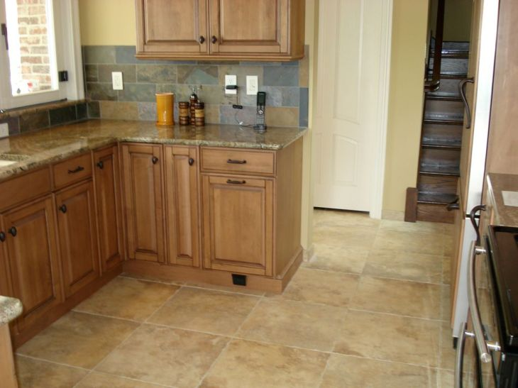travertine floor cherry cabinets Cabinets Kitchen Remodeling