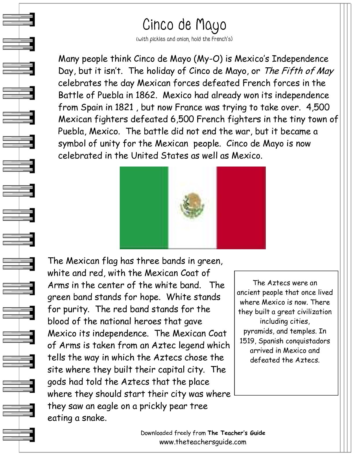 Cinco De Mayo Comprehension Worksheet