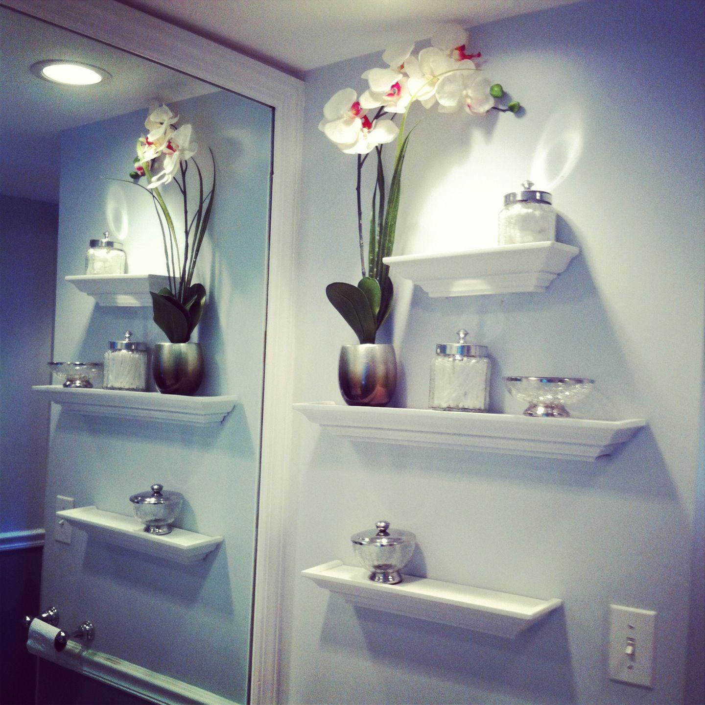 bathroom wall decor floating shelves glass jars orchid on bathroom wall decor id=33425