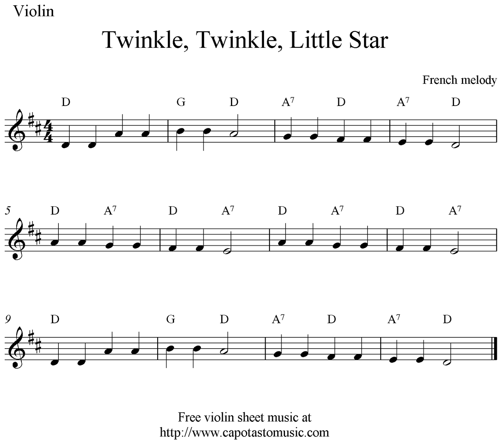Twinkle Twinkle Little Star Note