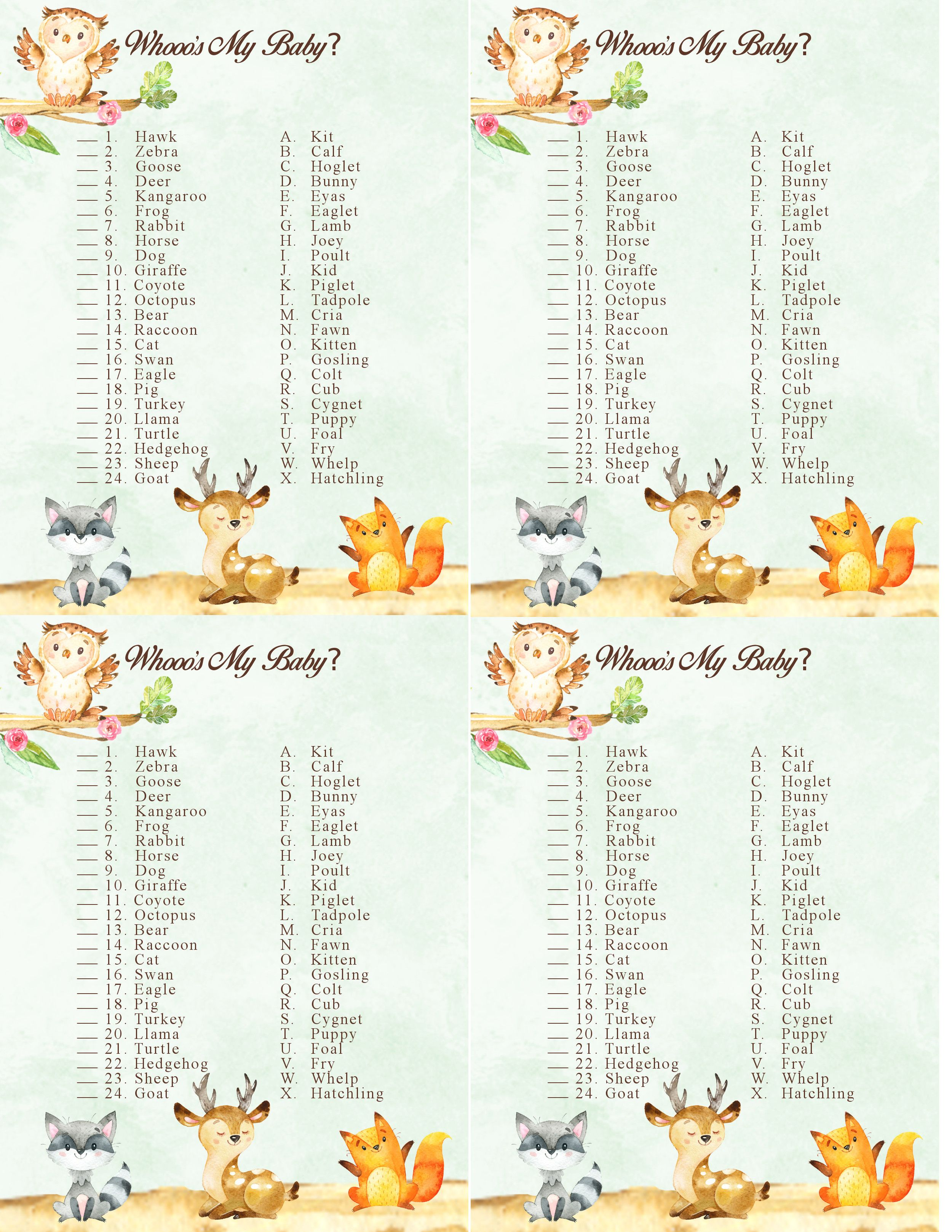 Woodland Forest Animal Baby Shower Game Who S My Baby Free Printable