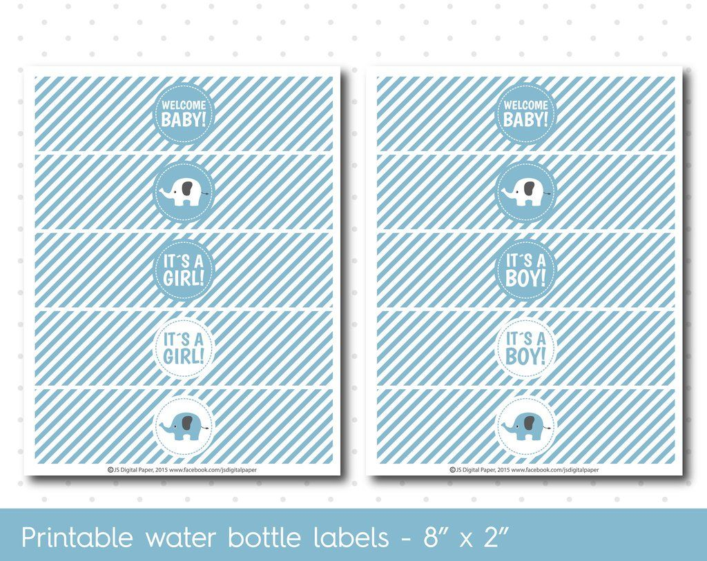 Blue Elephant Baby Shower Water Bottle Labels With Stripes