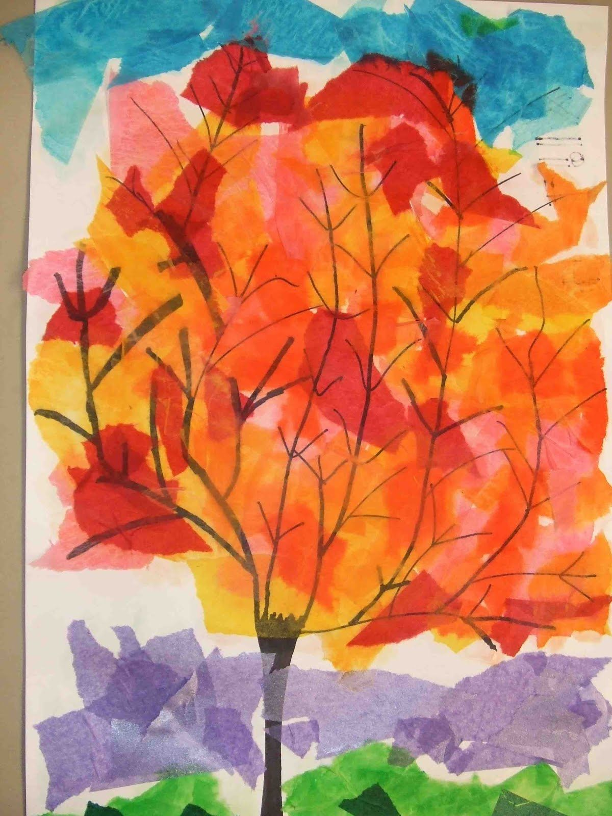 Poppycat News Tissue Paper Collage Fall Trees 4th