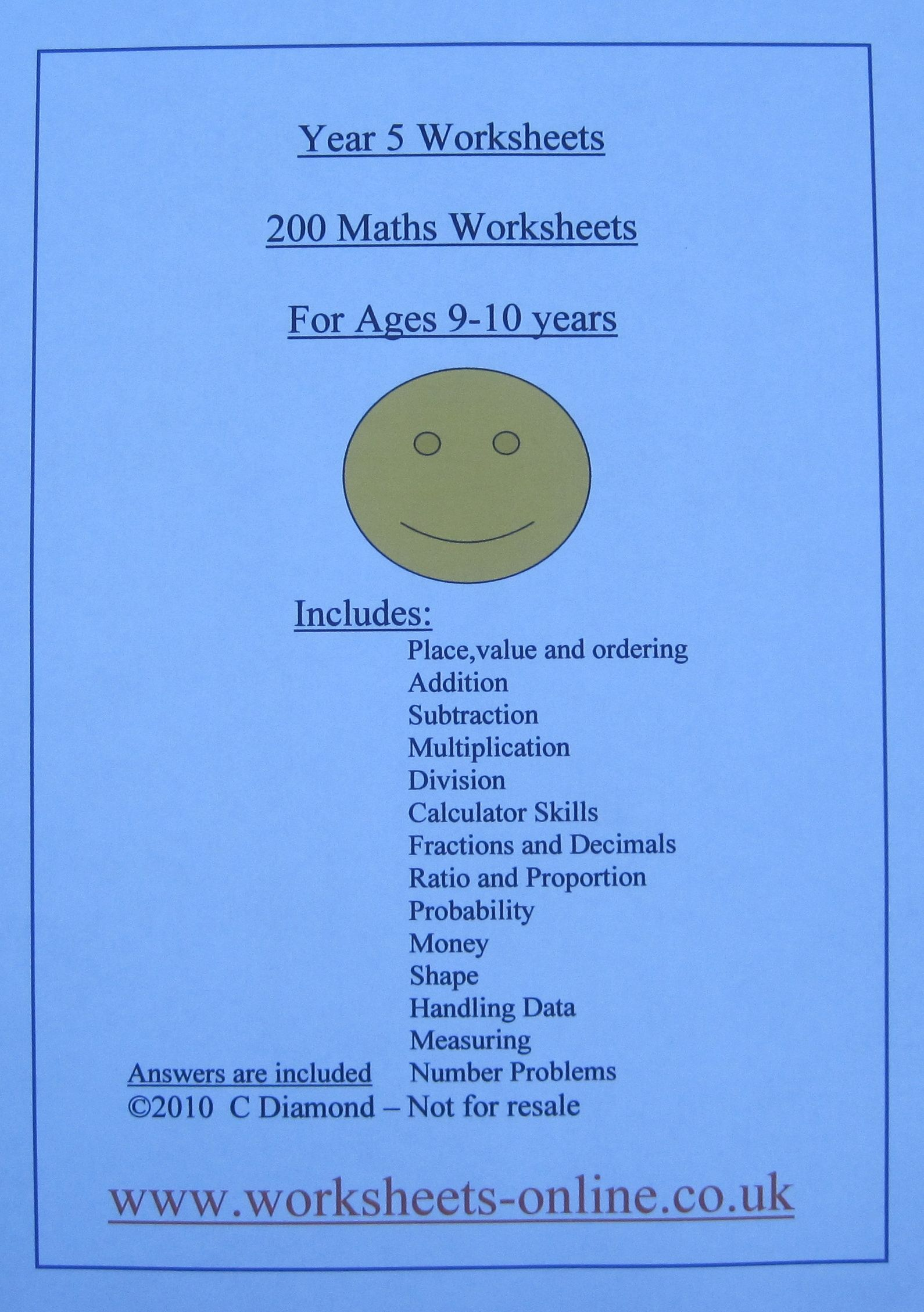 200 Year 5 Maths Worksheets For Children Aged 9 Or 10 Years Old