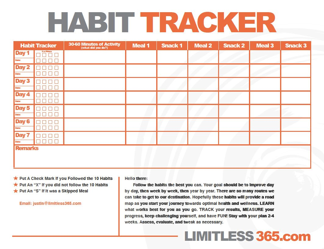 Healthy Habit Tracker Use This Chart To Help Track Those