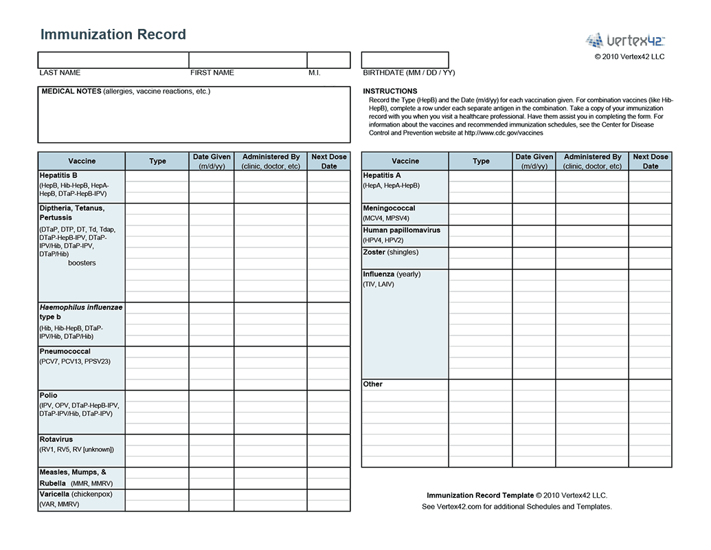 Free Printable Immunization Record From Vertex42