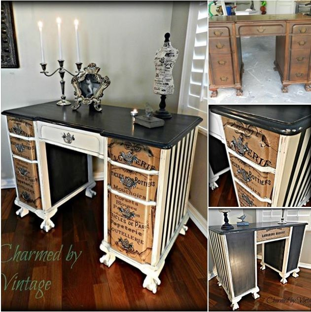 Artfully Refinished Desk Before And After Annie Sloan