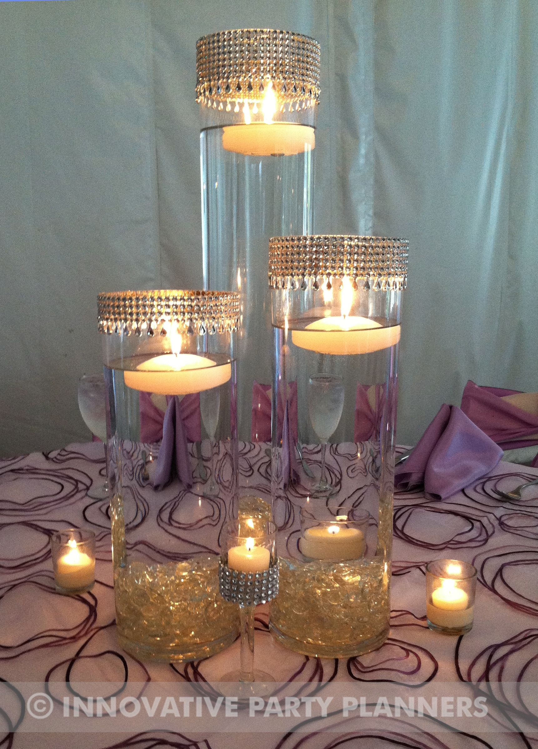 Romantic Candle Light And Glitter Band Vases Wedding