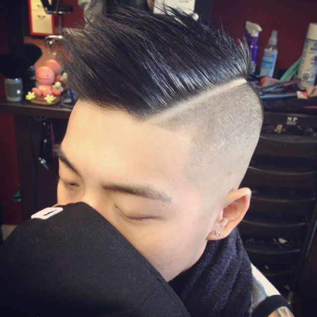 Mens haircut  Faded sides Asian  hair Hardpart