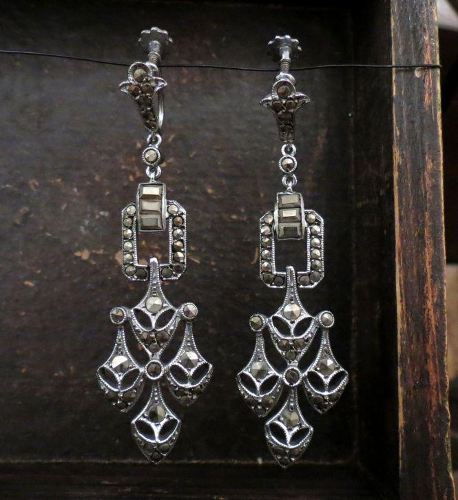 Art Deco Marcasite Chandelier Earrings Sterling Silver C 1930