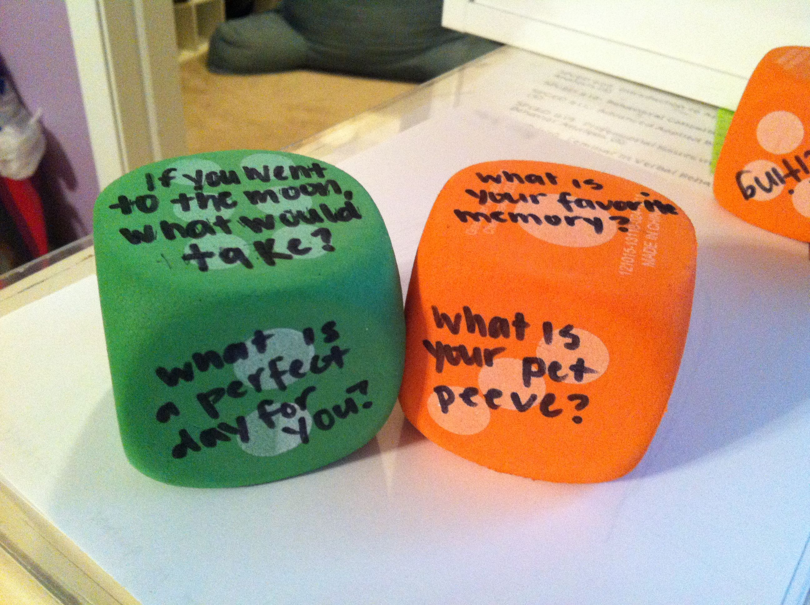 Foam Dice From The Dollar Store Getting To Know You Questions