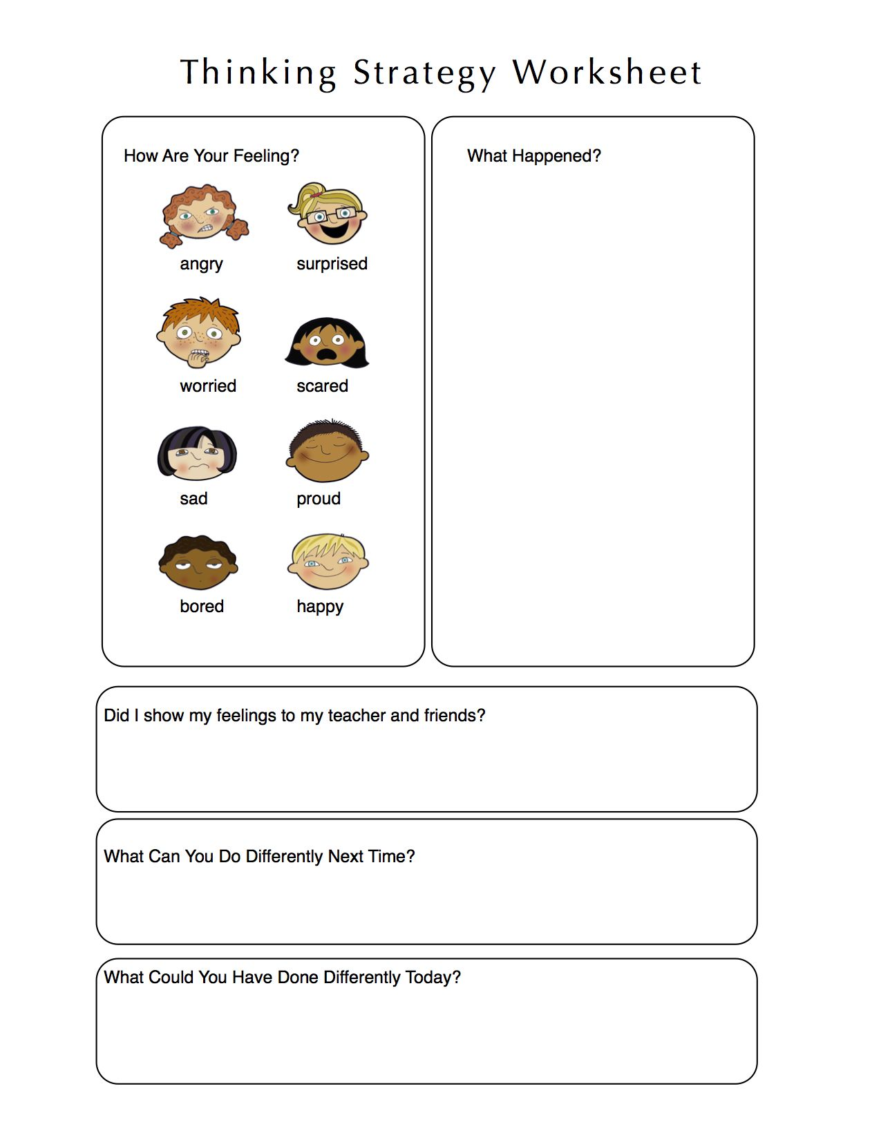 Worksheet For Kids To Think Through A Problem Using El And