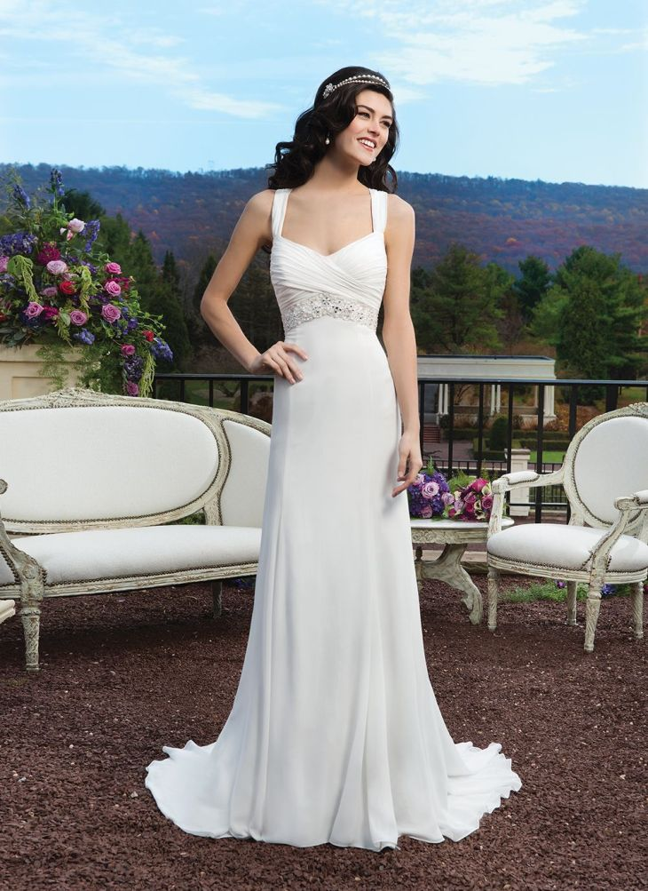 Sincerity wedding dress style Chiffon straight gown with V
