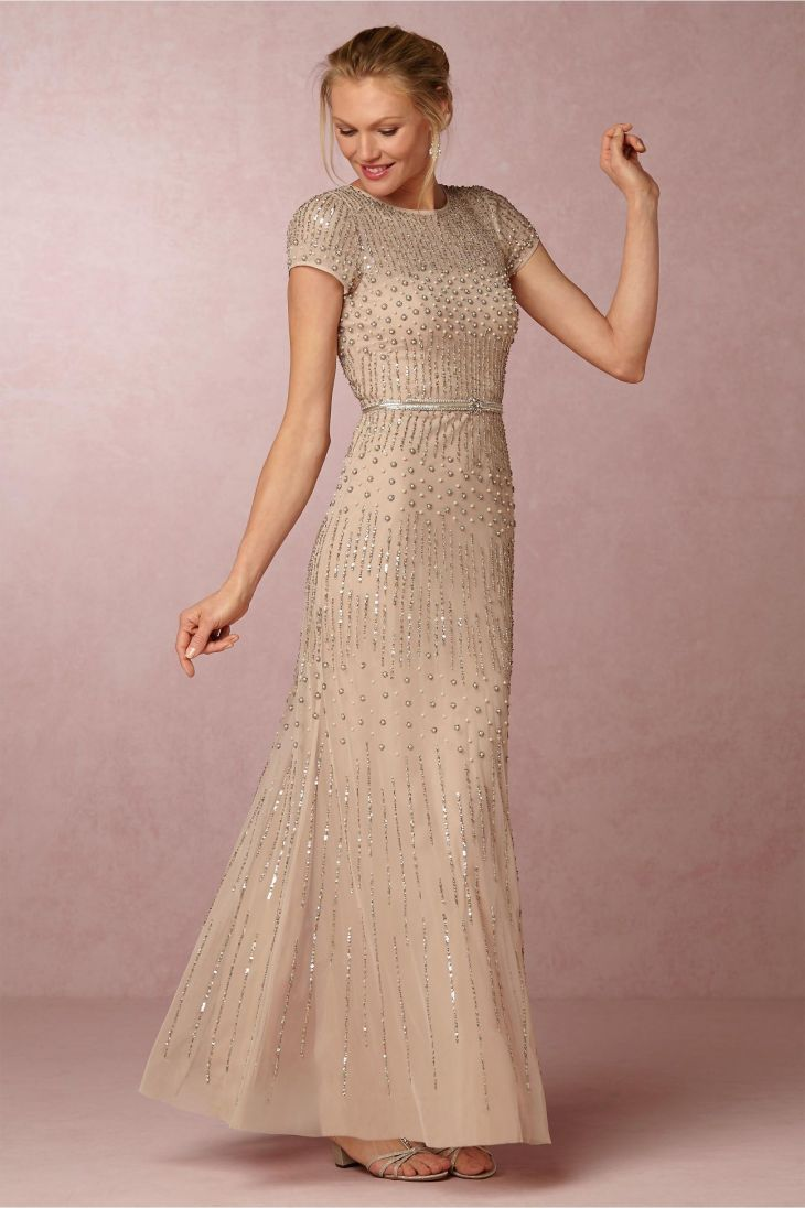 Gorgeous blush colored BHLDN Berkley Dress with a hint of sparkle