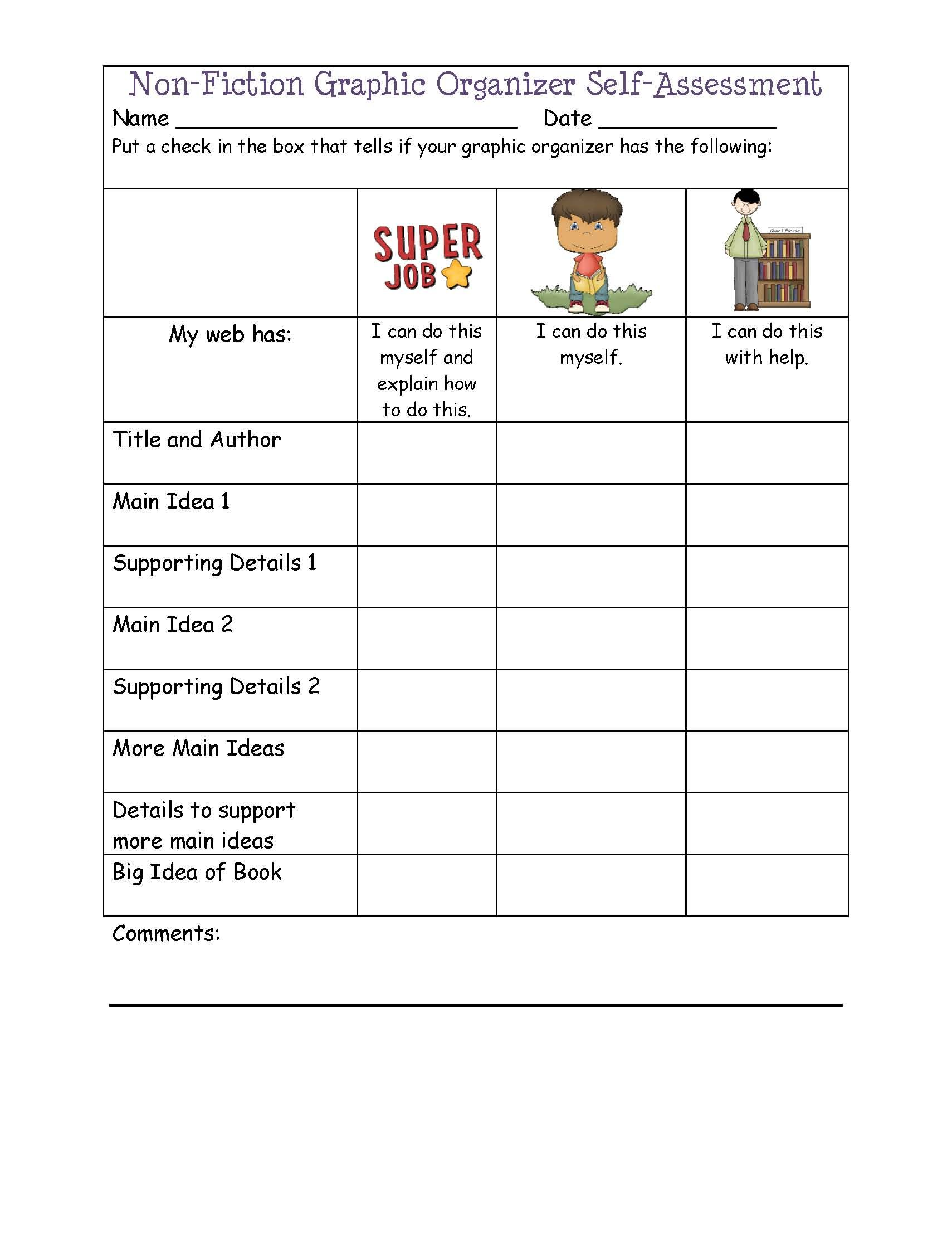 Non Fiction Graphic Organizer Student Self Evaluation