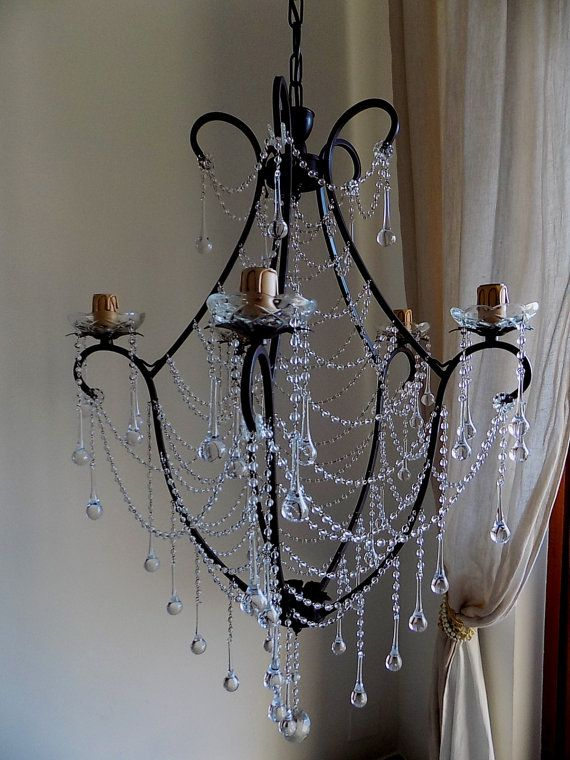 Birdcage Crystal Chandelier Clear Murano Glass Crystals Drops And Chains Shabby Chic Style