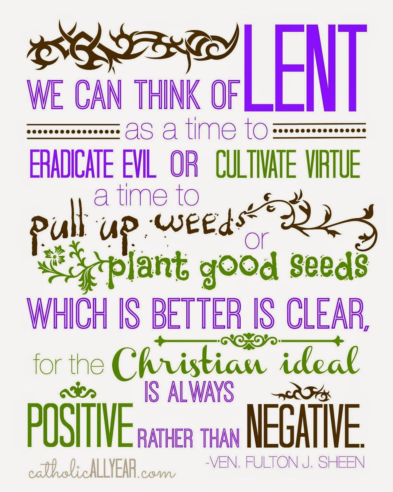 Catholic All Year Ven Fulton Sheen Lent Quote Purple And Green And White
