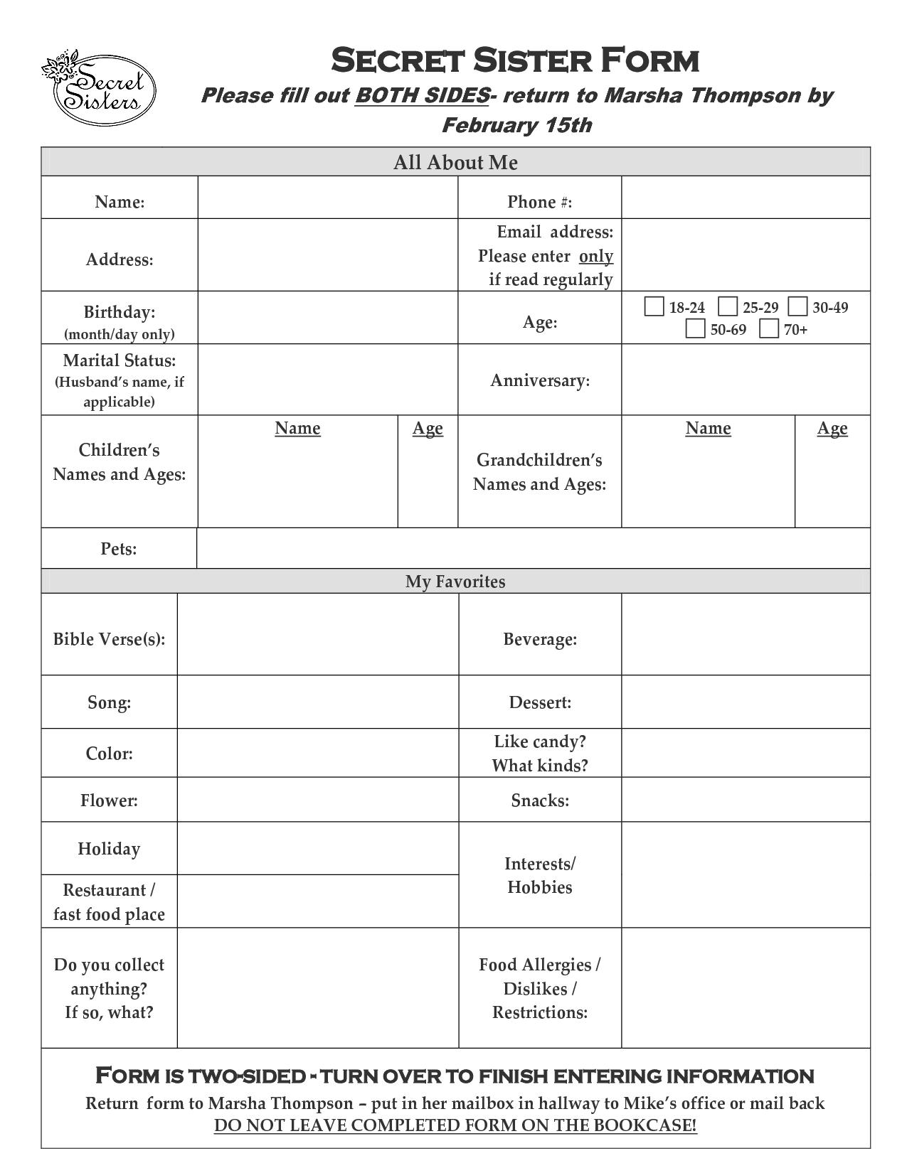 Secret Sister Questionnaire Form