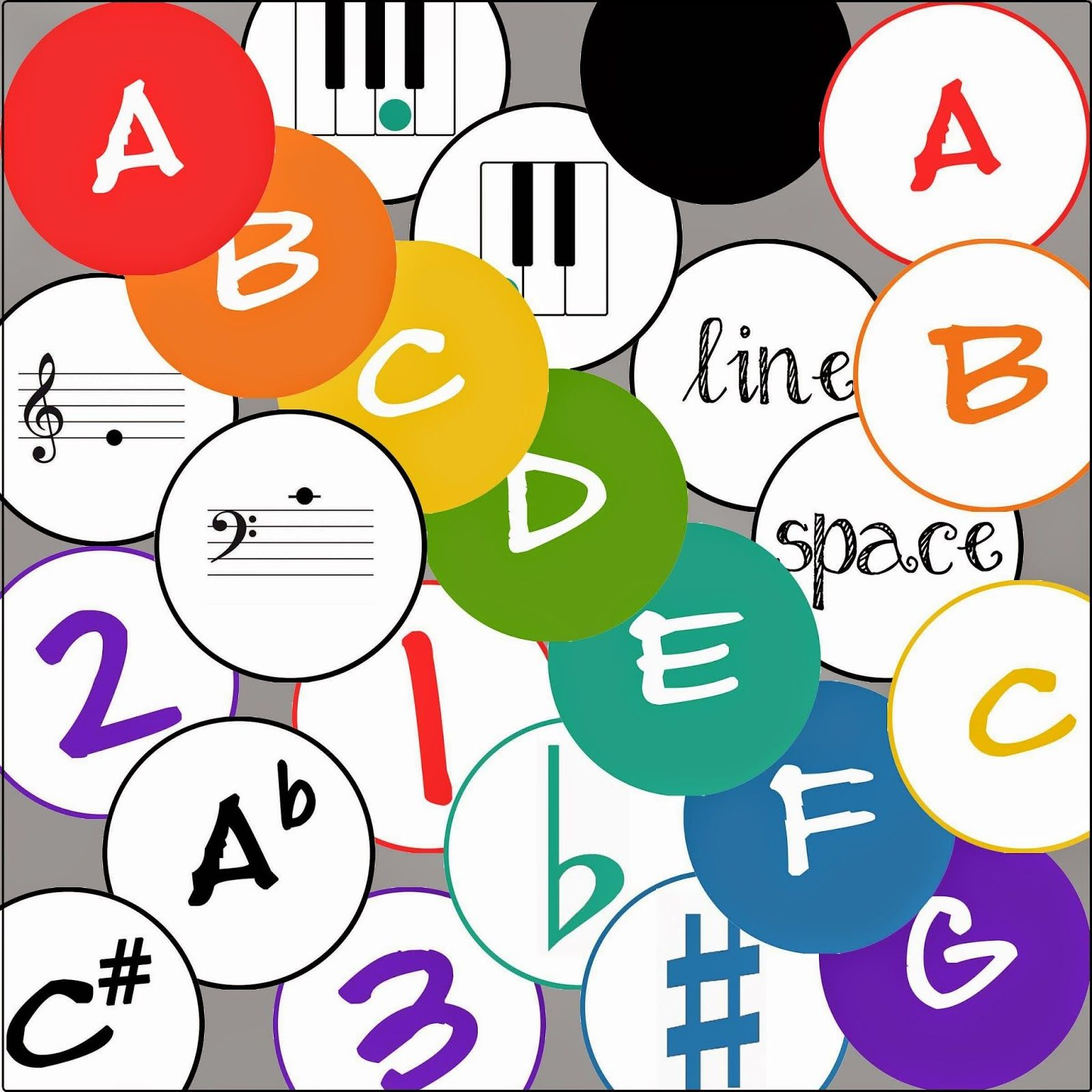 The Teaching Studio Circular Flashcards To Use With Giant Floor Piano Or Giant Floor Staff