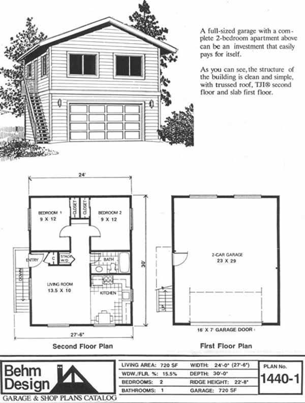 Garage Apartment Plans 1440 1 By Behm Design That Would Be. Stunning 2  Bedroom ...