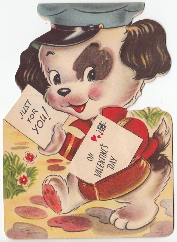 Vintage Unused Dog Mailman Valentine Greeting Card