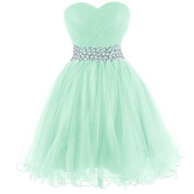 2016 Mint Homecoming Dress Beaded Tulle Prom Dress