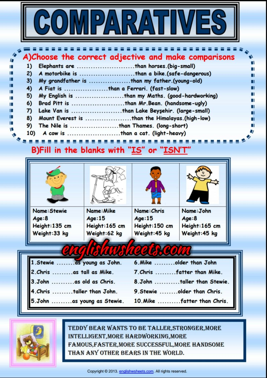 Comparative Forms Of Adjectives Exercises Handout For Kids