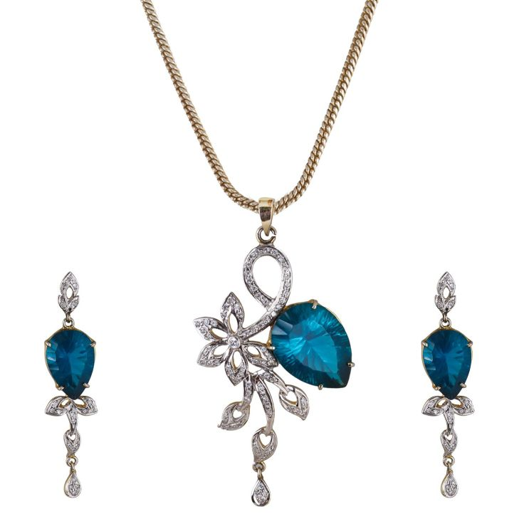 Charismatic Diamond Look Rhodium Plated on Brass Blue Colour Earring