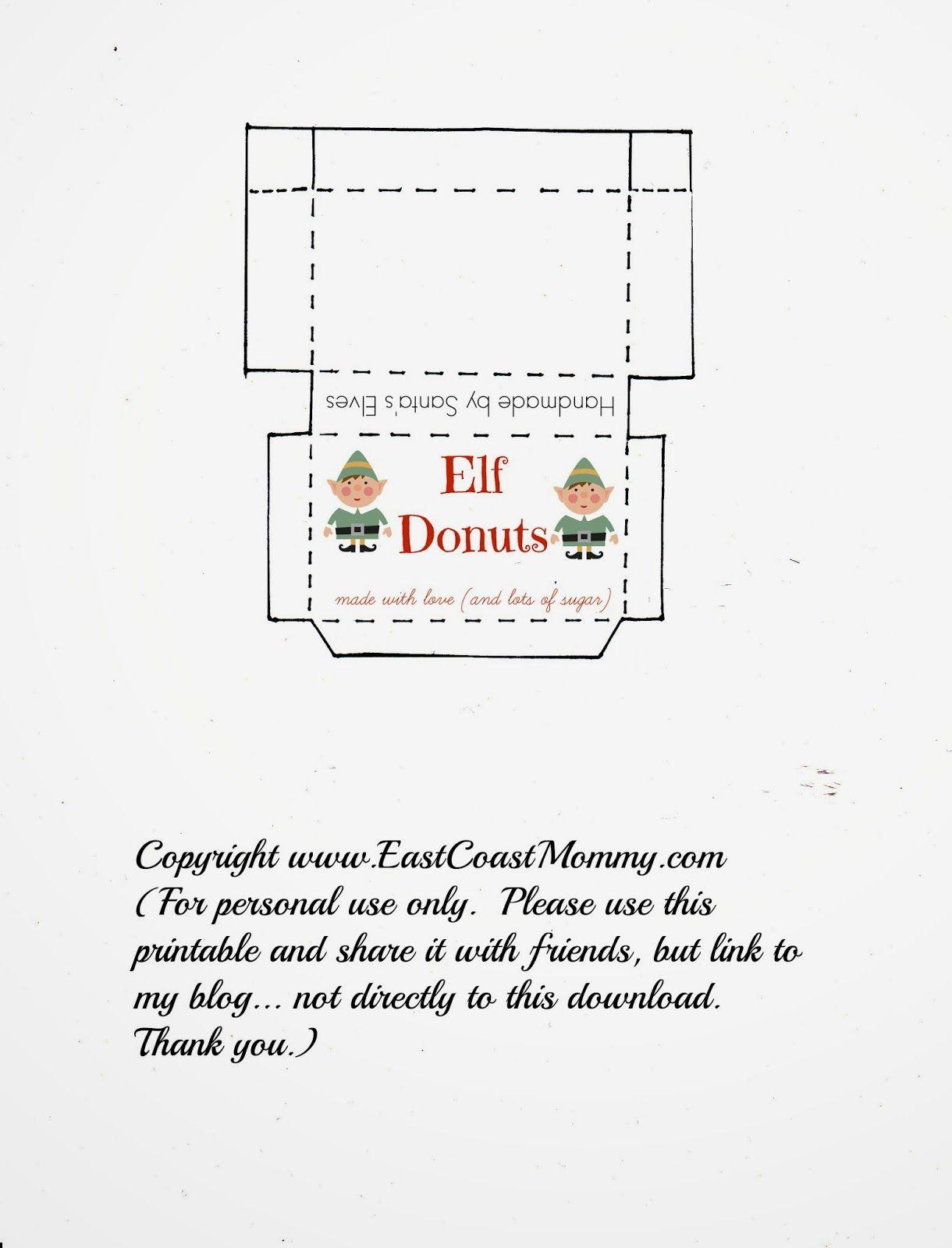 Elf On The Shelf Donuts Free Printable Box