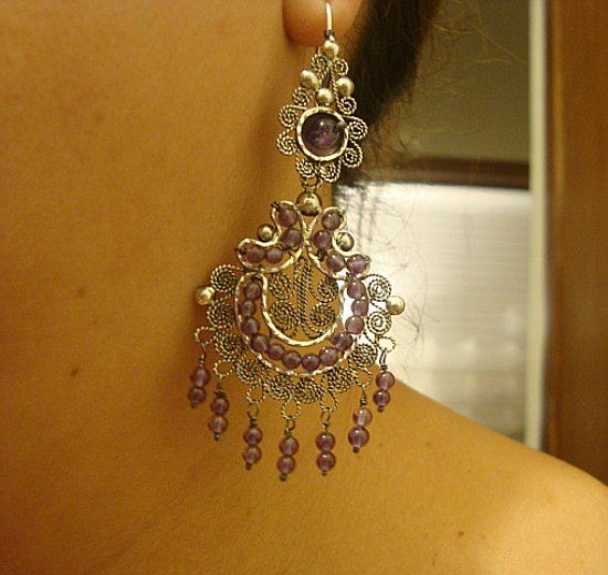 Dangling Filigree Chandelier Earrings Mexican Silver