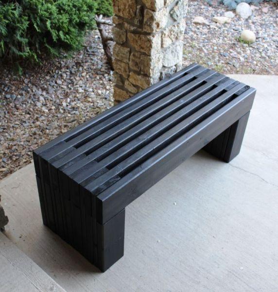 pinterest garden bench ideas Outdoor Wood Bench Plans | Modern Slat Top Outdoor Wood