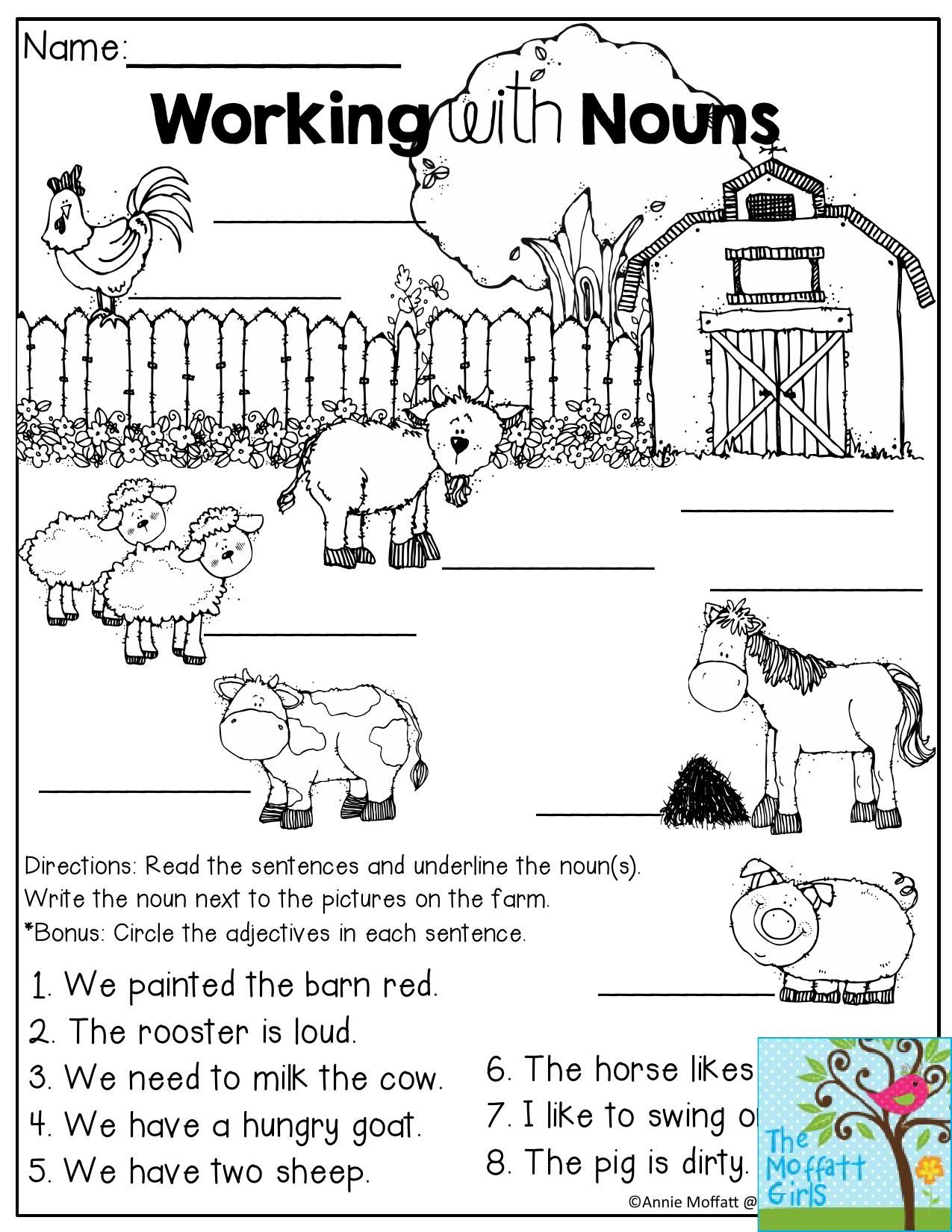 Working With Nouns On The Farm Read The Sentences And Underline The Noun Then Write The