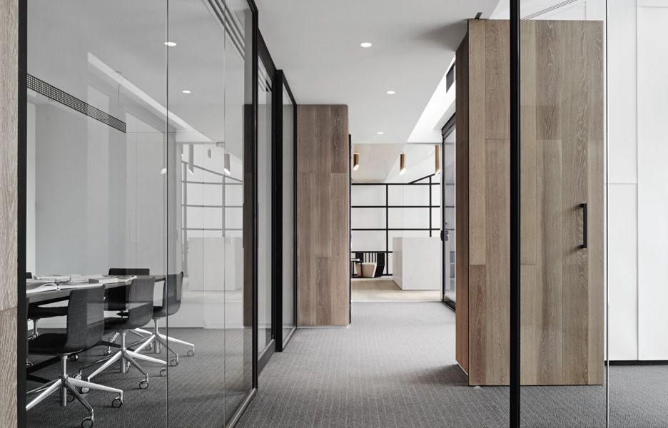 love the glass partitions combined with the wood f in ish on commercial office colors for walls id=42745