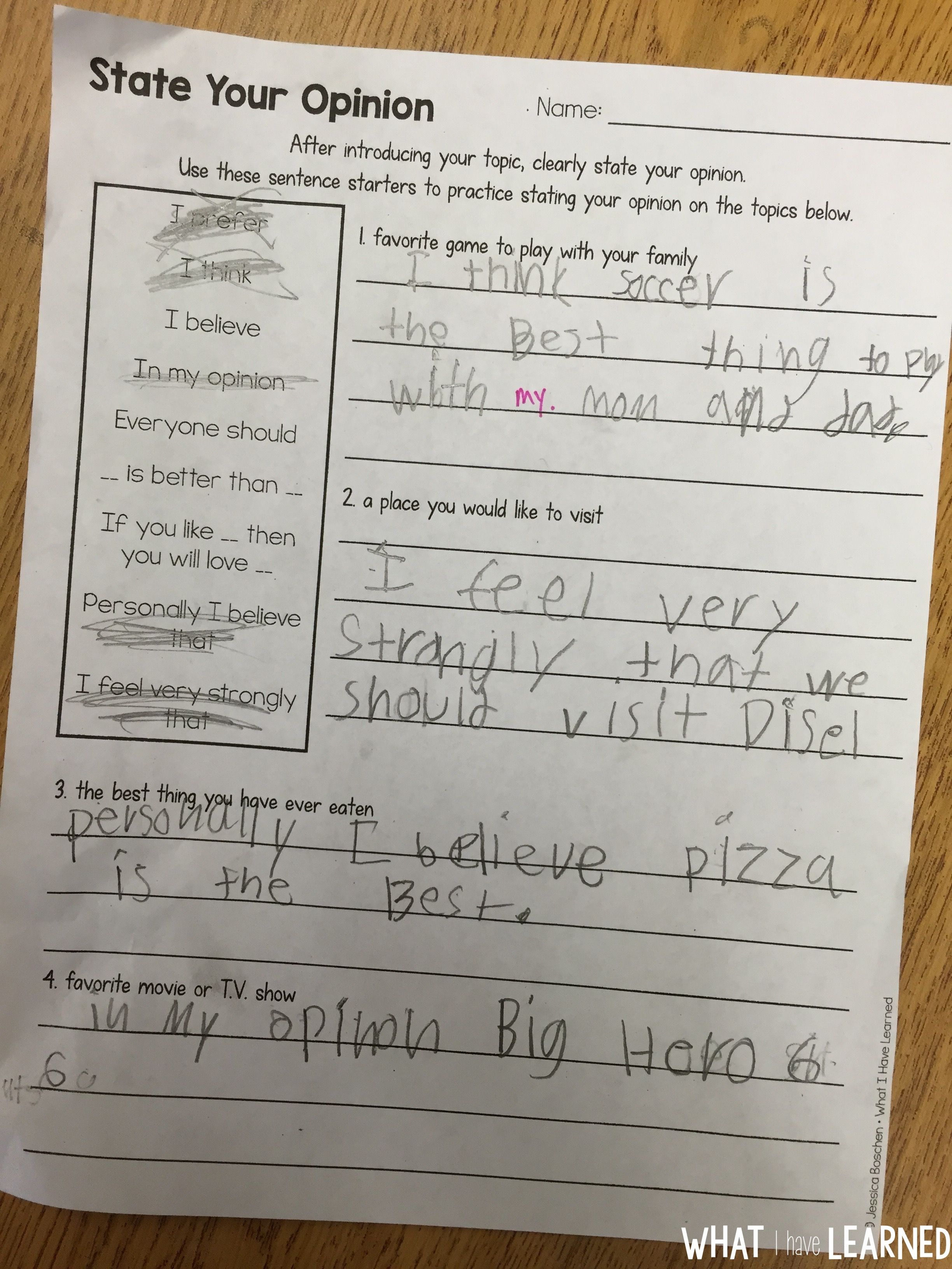Writing An Opinion How We Do It In Our Classroom